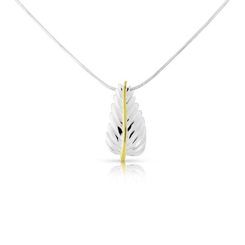 A Sterling Silver and Gold Plated leaf Pendant and Silver Chain