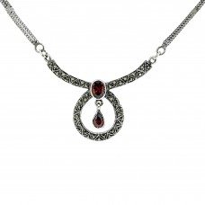Marcasite and Garnet Sterling Silver Necklace