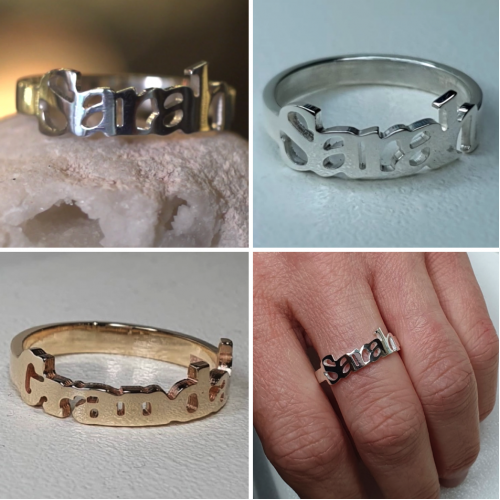 Personalised Name Rings made to Order in Recycled Silver or Gold.
