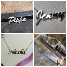 Name Necklaces made to Order in Recycled Silver.