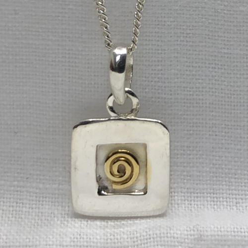 """Irish Hallmarked Sterling Silver and Gold Plated Spiral pendant and 16"""" (40cm) Sterling Silver Chain"""