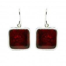 A Red Ceramic  Sterling Silver Handcrafted  Square Drop Earrings